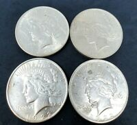 LOT OF 4 1922 PEACE DOLLARS, PHILADELPHIA MINT, 99 YEARS OLD 90 SILVER COINS