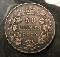 1870 CANADA SILVER 50 CENTS. HIGH GRADE FIRST YEAR OF ISSUE. NICELY TONED.