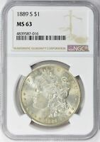 1889-S MORGAN SILVER DOLLAR - NGC  MINT STATE 63 - MINT STATE 63