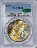 1882 S MORGAN SILVER DOLLAR PCGS MINT STATE 65  CAC APPROVED RAINBOW TONING OBVERSE