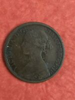 1860 BRITISH VICTORIA FARTHING  1/4D  NICE DETAIL COLOR GREA