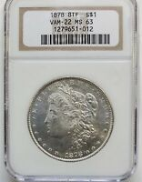 1878 8 TAIL FEATHERS MORGAN DOLLAR VAM-22 NGC MINT STATE 63