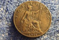 ENGLAND  FARTHING: 1916 IN FINE PLUS CONDITION  KING GEORGE