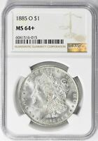 1885-O MORGAN SILVER DOLLAR - NGC  MINT STATE 64 - MINT STATE 64 PLUS