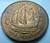 1959 ELIZABETH II HALF PENNY COIN MINT UNC WITH LUSTRE  CB7