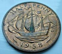 1958 ELIZABETH II HALF PENNY COIN MINT UNC WITH LUSTRE  CB6