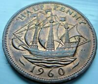 1960 ELIZABETH II HALF PENNY COIN MINT UNC WITH LUSTRE  CB9