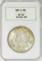 1885-O MORGAN SILVER DOLLAR - NGC  MINT STATE 63- MINT STATE 63