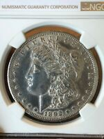 1892-CC MORGAN SILVER DOLLAR NGC UNC DETAILS CLEANED