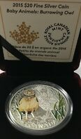 2015 $20 BABY ANIMALS:BURROWING OWL FINE SILVER COIN
