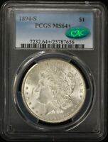 1894-S MORGAN $1 PCGS MINT STATE 64 CAC