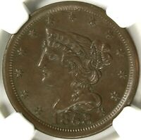 CAC NGC MINT STATE 64 BN 1853 BRAIDED HAIR HALF CENT