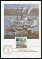 MAYFAIRSTAMPS US FDC 1989 MAXIMUM CARD US MAIL STEAMBOAT WWM
