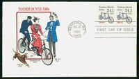 MAYFAIRSTAMPS US FDC 1988 TANDEM BICYCLE COIL PAIR WWM67853