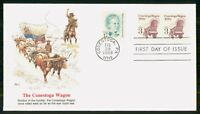 MAYFAIRSTAMPS US FDC 1988 CONESTOGA WAGON BLOCK FIRST DAY CO