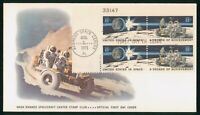 MAYFAIRSTAMPS US FDC 1971 SPACE ACHIEVEMENTS PLATE BLOCK FIR