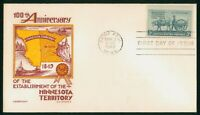 MAYFAIRSTAMPS US FDC 1949 STAEHLE MINNESOTA TERRITORY FIRST