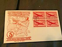 1946   5 UNITED STATES AIRMAIL   BLOCK OF 4 FDC