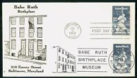MAYFAIRSTAMPS US FDC 1983 BABE RUTH BLOCK FIRST DAY COVER WW