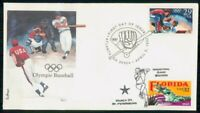 MAYFAIRSTAMPS US FDC 1992 OLYMPIC BASEBALL FIRST DAY COVER W