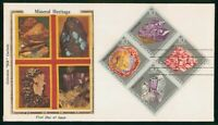 MAYFAIRSTAMPS US FDC 1974 BLOCK MINERAL HERITAGE ART COLORAN