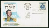 MAYFAIRSTAMPS US FDC 1959 JOSE DE SAN MARTIN FIRST DAY COVER
