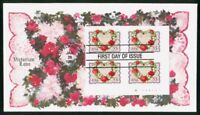 MAYFAIRSTAMPS US FDC 1999 LOVE HEART SHAPED FLOWERS BLOCK FI