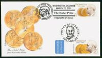 MAYFAIRSTAMPS US FDC 2001 NOBEL PRIZE COMBO MIXED FRANKING F