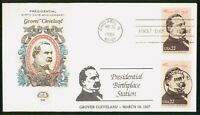 MAYFAIRSTAMPS US FDC 1986 GROVER CLEVELAND BLOCK FARNUM FIRS