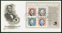 MAYFAIRSTAMPS US FDC 1989 WORLD STAMP EXPO ABE LINCOLN FIRST