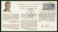 MAYFAIRSTAMPS US FDC 1964 JFK QUOTES CACHET FIRST DAY COVER