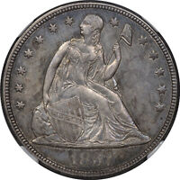 1857 SEATED DOLLAR NGC MINT STATE 61