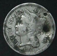1867-P 3C THREE CENT NICKEL 21OOC0523 70 CENTS SHIPPING