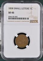 SMALL CENTS FLYING EAGLE 1858 P NGC EXTRA FINE -45 SMALL LETTERS