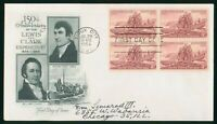 MAYFAIRSTAMPS US FDC 1954 LEWIS AND CLARK BOAT BLOCK FIRST D