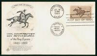 MAYFAIRSTAMPS US FDC 1960 100TH ANNIVERSARY PONY EXPRESS POS