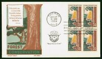 MAYFAIRSTAMPS US FDC 1958 SMOKEY BEAR BLOCK FOREST CONSERVAT