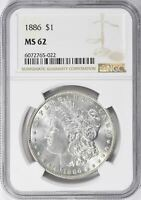 1886 MORGAN SILVER DOLLAR - NGC MINT STATE 62 - MINT STATE 62