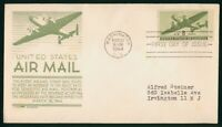 MAYFAIRSTAMPS US FDC 1944 AIR MAIL 8C AIRPLANE FIRST DAY COV