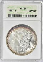 1887 MORGAN SILVER DOLLAR - ANACS  MINT STATE 64 - MINT STATE 64