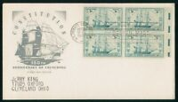 MAYFAIRSTAMPS US FDC UNSEALED 1947 BLOCK USS CONSTITUTION FI