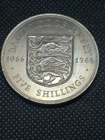HIGH GRADE 1966 BAILIWICK OF JERSEY FIVE SHILLINGS  SEE PICT
