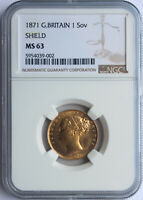 GREAT BRITAIN 1871 VICTORIA YOUNG HEAD SHIELD SOVEREIGN NGC
