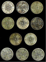 11  UK GREAT BRITAIN SILVER FLORINS  TWO SHILLINGS   1914 1