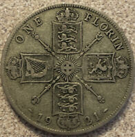 1921 GREAT BRITAIN ONE FLORIN 0.500 SILVER KING GEORGE V COI