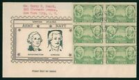 MAYFAIRSTAMPS US FDC UNSEALED 1936 BLOCK 6 ARMY & NAVY WASHI