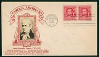 MAYFAIRSTAMPS US FDC SEALED 1940 JAMES FENIMORE COOPER PAIR