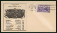 MAYFAIRSTAMPS US FDC SEALED 1938 RATIFICATION OF THE CONSTIT