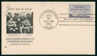 MAYFAIRSTAMPS US FDC UNSEALED 1945 UNITED NATIONS CONFERENCE