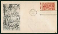 MAYFAIRSTAMPS US FDC UNSEALED 1948 OREGON CENTENNIAL SMARTCR